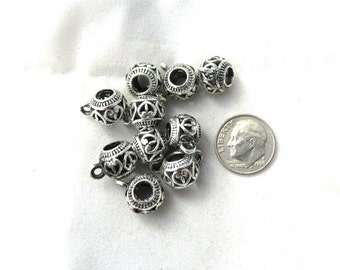 10 Antique Silver Open Heart Euro Bail Beads (s11d1)