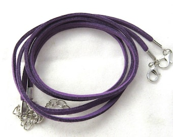 """2 Faux Suede Cord Necklaces with Lobster Clasps 17.7"""" Purple (B150a1)"""