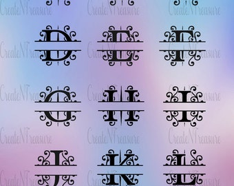 Split Letter Monogram SVG. Monogram font svg. Cutting files for Silhouette cameo and Cricut. Split font in svg, dxf, png.