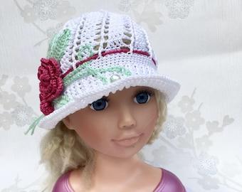 Flower summer hats, girls cotton hats , beach hat, cotton hat, flower hat , Brimmed hat, girls hat, Holiday, Baby summer hat, Wide brime hat