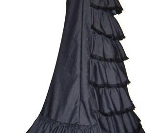 GOTHIC BUSTLE SKIRT, victorian long gothic skirt, saloon skirt, steampunk full length skirt, victorian dress, 1900 costume, size 18 - 20