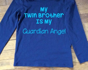 My Twin Brother is My Guardian Angel Iron On Decal