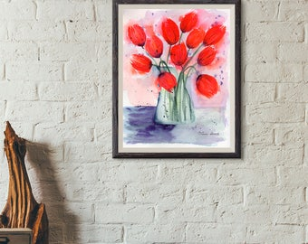 Red Tulips, Art, Watercolor, Original Painting, 8.5x11, paintings, original, florals, Mother's Day gift, houusewarming gift, birthday gift