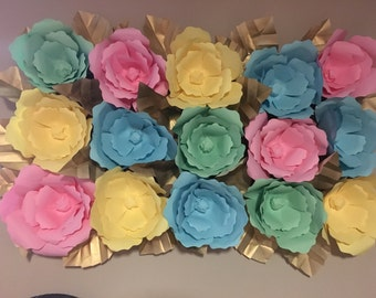 10 Large paper flowers with leaves choose any color