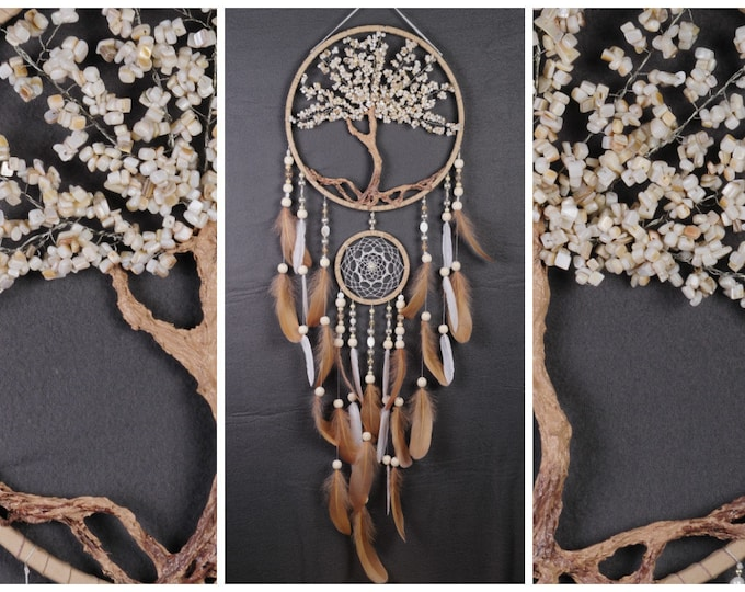 Nacre Dream Catcher Tree of life light beige Dreamcatcher beige Dream сatcher white dreamcatchers decor handmade perl gift Valentine's Day