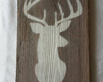 Painted Deer on Old Barn Board