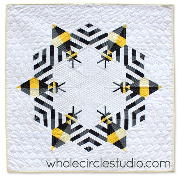 Bee Mini Quilt. Pattern Only. Bee Quilt. Modern Quilt. Beekeeper ... : bee quilt pattern - Adamdwight.com
