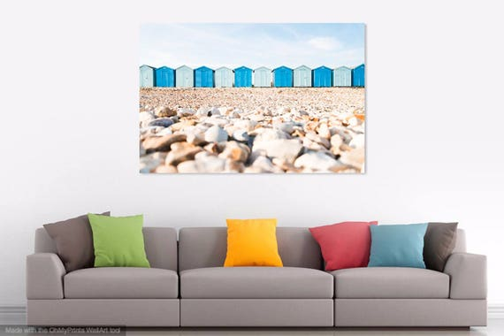 BEACH HUTS and PEBBLES. Beach Print,Beach Huts,Dorset Print,Jurassic Coast,Pebbles On Beach,Photographic Print