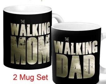 The Walking Mom and Dad Mug Set - 2 Mug Set For the Zombie Loving, Coffee Loving Couple!