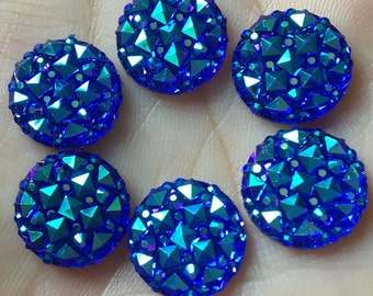 Blue Rhinestones, Rhinestone Flatbacks, Faux Druzy, Blue Druzy, 12mm Rhinestone, Blue Rhinestone Cabochon, Sparkly Flatbacks, Blue