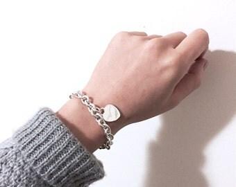 Silver chain heart bracelet