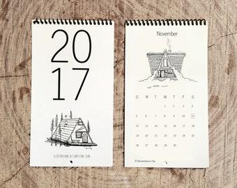 Calendar 2017 Cabin Love Hand-drawn Ink Illustrations Art