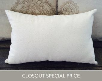 """Closeout! Cotton Linen Blend pillow, cream brown, Pillow case, Cushion Cover, throw pillow, accent pillow, lumbar pillow, 12""""x18"""""""
