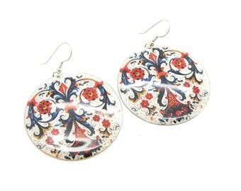 Fleur De Lis Pattern Print earrings Handmade, ethical jewllery unique