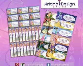 Printable and personalized Disney Princess name tags - school stickers - Disney Princess Labels