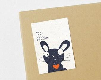 Bunny Self-Adhesive Gift Tags - Set of 8