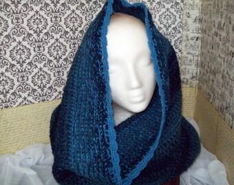 Crochet Hooded Cowl Blue Denim