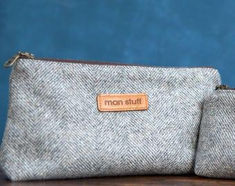 Extra Large Fabric 'Man Stuff' bag - Grooming Bag - Shaving Bag - Mens Toiletry Bags - Wash Bags - Groomsmen Gift - Gift For Him