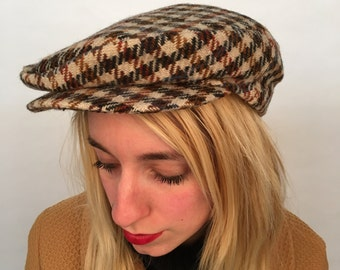 SALE // Brown plaid news boy hat with snap