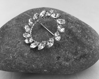 Sterling Silver and Rhinestone Van Dell Sterling Circle Brooch, Classic Brooch, Classic Jewelry, Vintage Jewelry, Vintage 1960's, Gift