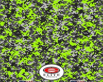 """Digital Camo Lime Green  2 15""""x52"""" or 24""""x52"""" Truck/Pattern Print Tree Real Camouflage Sticker Roll or Sheet"""
