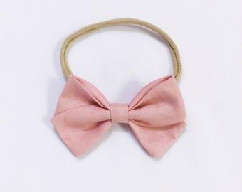 Dusty Pink signature bow headband