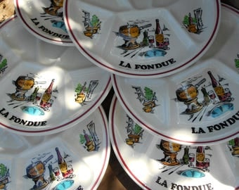 Set of Six 1970's French 'Fondue' Plates in Modern Mid-Century Designs by GIEN France. Hand Painted.