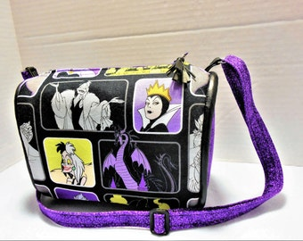 Disney Villains Small Crossbody Barrel Purse, Disney Villains crossbody bag, Disney Purse, Ursula, Maleficent, Evil Queen, Cruela De Vil