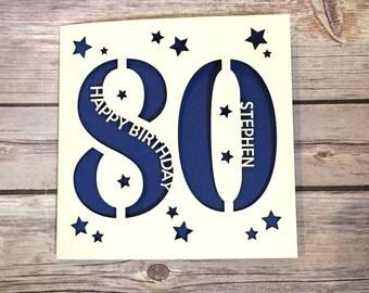 Personalised 80th Birthday Card, Dad 80th Card, Mum 80th Card, Eighty Card, Happy 80th, Personalised 80th Gift, Handmade Card, Lasercut