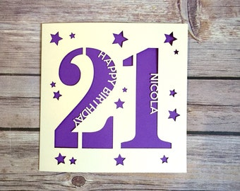 Personalised 21st Birthday Card, 21st Daughter, 21st Son, 21st Niece, 21st Nephew, 21st Gift, Twenty-One Card, Happy, 21st, Lasercut Card