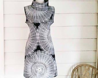 Women's Cowl Neck Dress Black White Spiral Australian Made White Black Dress Classy Dress Tunic Dress Cotton Evening Dress Sleeveless Dress