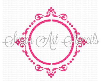 Cookie stencil  fancy frame wedding monogram NB700134