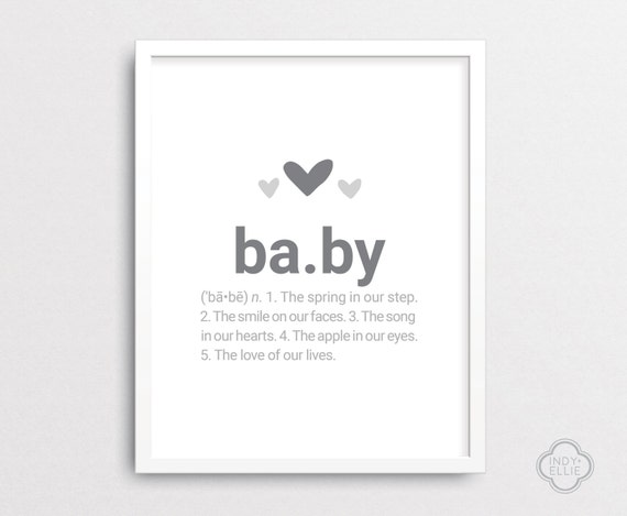 baby definition baby shower gift nursery wall art custom wall