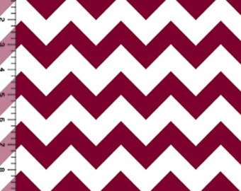 Maroon Burgundy Chevron on White Chevron zig zag cotton jersey Knit fabric by the YARD