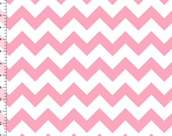 Light Baby Pink Chevron on White Chevron zig zag cotton jersey Knit fabric by the YARD