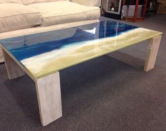 Resin Art Coffee Table Seaside