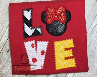 Love Mouse Girl Machine Embroidery Applique Design Use Coupon Code PRINCESS for 15% Off