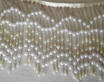 "4 1/2"" Beaded Pearl Fringe Trim Sold by Yard"