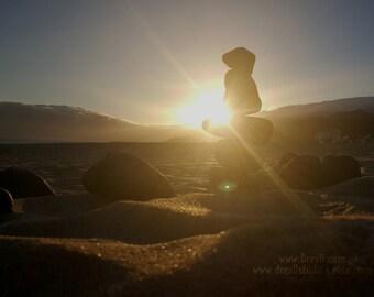 Ventura • Fuerteventura Beach Sunset. Fine Art Photograph, Rock Formation Silhouette, Coastal Decor, Seaside Wall Art, Large Sun Picture.
