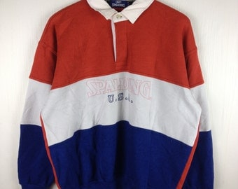 Rare !! Vintage 90s SPALDING USA Stripes Polo Stadium Multi Color Button Down Sweatshirt LL Size