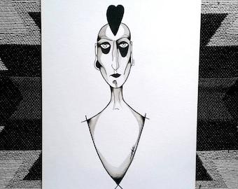 Black and white watercolor, illustration art nouveau Portrait A4
