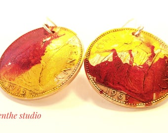 Jewellery, earrings, Hand made, English penny earrings, yellow, red, Sterling silver ear wires, hand painted, art earrings