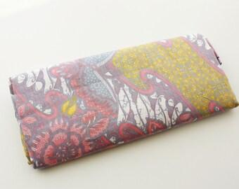 Batik, Batik Fabric, Indonesian Batik, Floral, Two Tone, Two Patterns in one Panel, Print, Cotton,Purple, Pink, 2 metre long