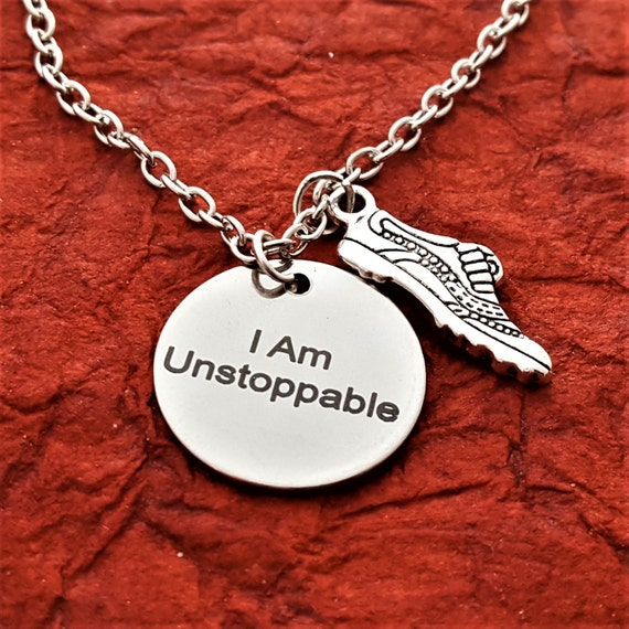 CrossFit Jewelry, Gifts for Runners, Triathlon Necklace, I Am Unstoppable Necklace, Motivational Fitness Gift, Bicycle Runner Swimmer Charms
