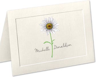 Daisy Personalized Stationery, Embossed Panel Note Cards, Linen Paper, Stationary Set, Flower Notecards, Daisy Stationary, Thank You Cards