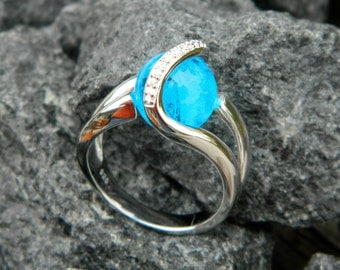 Stone glows in the Dark - Interchangeable Marble CZ Ring with handmade 10mm (glow in the dark) glass marble