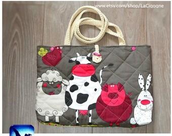 FARM diaper bag. Tote-bag. Handmade bag, cotton, natural cotton yarn, diaper bad, handbag. LaCigogne bags
