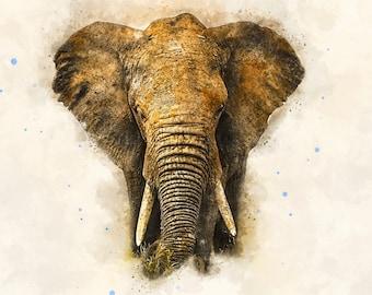 Watercolor elephant,Elephant watercolor,Elephant painting,Elephant print,Elephant art,Elephant wall art,Elephant decor,Elephant nursery