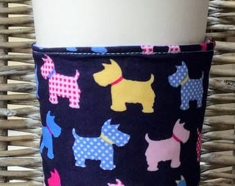 Reusable coffee cup cosy in dog print fabric - navy / pink / yellow / blue