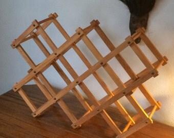 vintage wood wine rack, hippie bohemian style